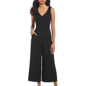 Karl Lagerfeld Paris Crepe Cropped black jumpsuit